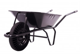 building wheelbarrow 60 l, full rubber wheel - black solid-drawn platform, loading capacity 100 kg