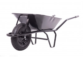 building wheelbarrow 60 l, inflatable wheel - black solid-drawn platform, loading capacity 100 kg
