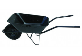 building wheelbarrow 80 l, full rubber wheel - black solid-drawn platform, loading capacity 100 kg