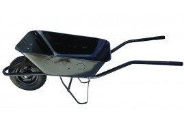 building wheelbarrow 80 l, inflatable wheel - black solid-drawn platform, loading capacity 100 kg