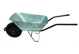 building wheelbarrow 80 l, full rubber wheel - galvanized solid-drawn platform, loading capacity 100 kg