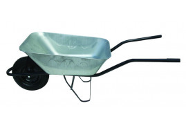 building wheelbarrow 80 l, inflatable wheel - galvanized solid-drawn platform, loading capacity 100 kg