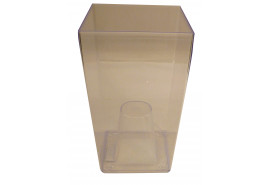 flowerpot case angular, DUW 120P, transparent, size 120x120x200 mm