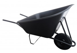 farm wheelbarrow 210 l, full rubber wheel - plastic platform, loading capacity 100 kg