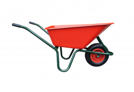 wheelbarrow LIVEX 100 l, inflatable wheel, assembled - plastic platform, red, loading capacity  100 kg