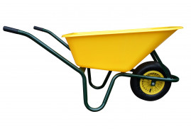 wheelbarrow LIVEX 100 l, inflatable wheel, assembled - plastic platform, yellow, loading capacity  100 kg