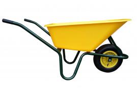 wheelbarrow LIVEX 100 l, inflatable wheel, assembled - plastic platform, yellow, loading capacity  100 kg