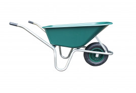 wheelbarrow LIVEX 100 l, gal. frame, inflatable wheel, assembled – plastic platform, red, loading capacity 100 kg